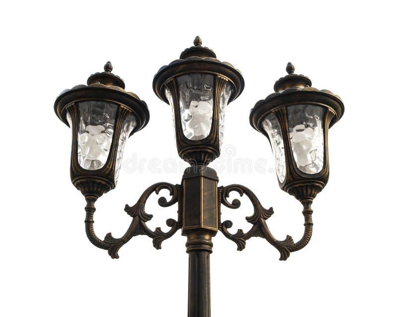 Lampada di via d'annata isolata su fondo bianco Vecchia lanterna con retro stile fotografia stock