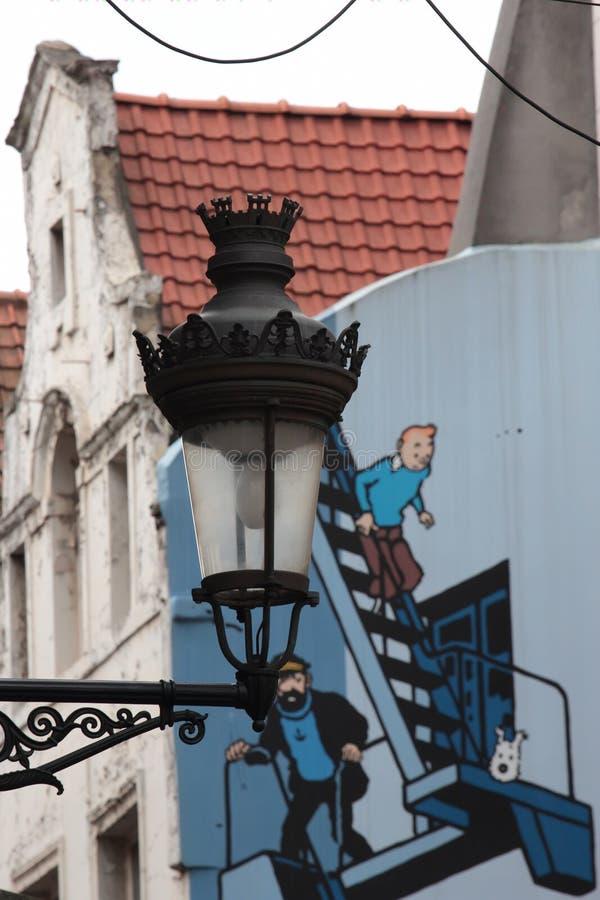 Lampada di via di Bruxelles immagine stock