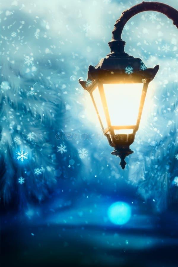 Lampada di via di inverno illustrazione vettoriale