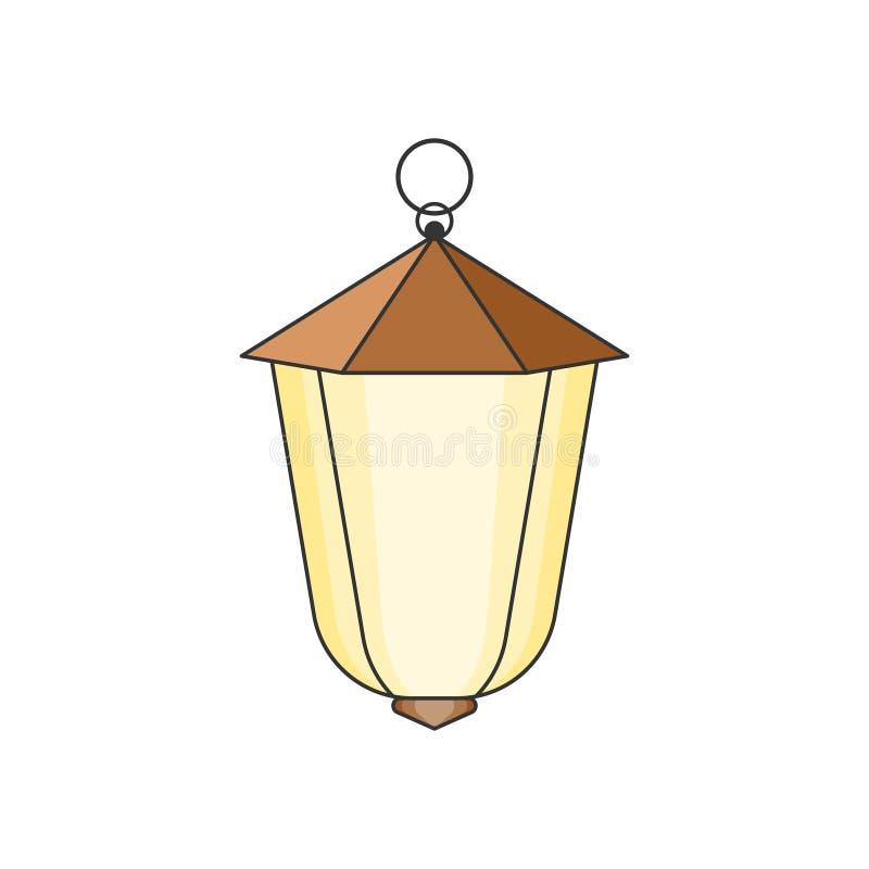 Lampada di via sospesa Facile pubblicare e cambiare colore Vettore isolato Impronta digitale illustrazione di stock