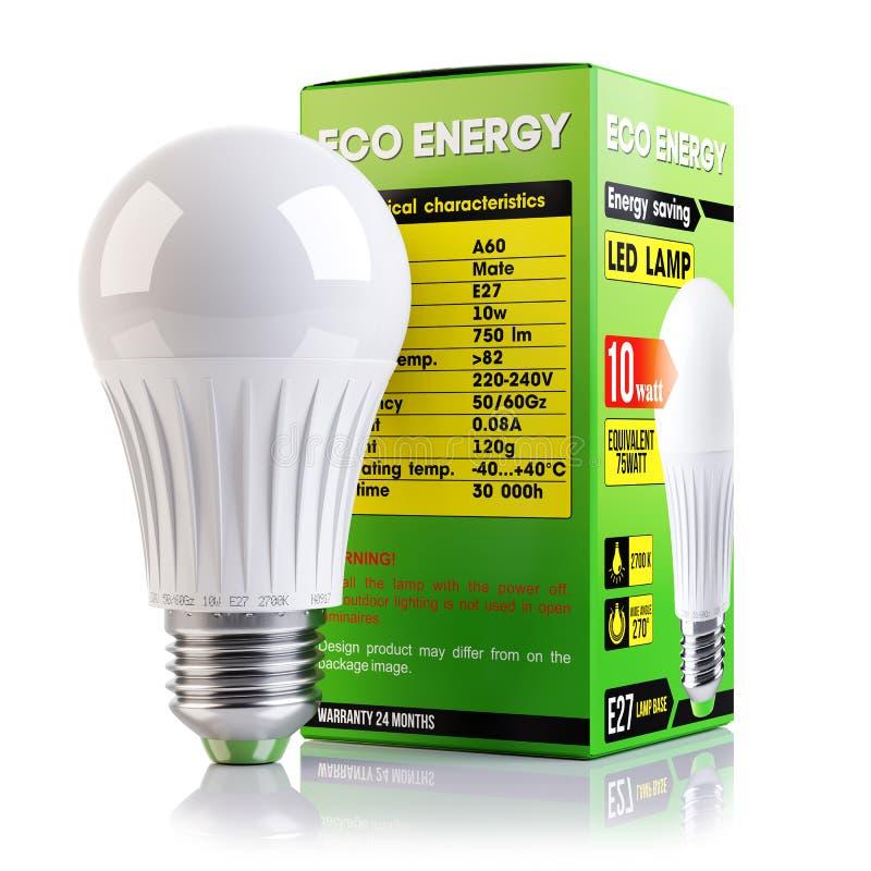 Lampada economizzatrice d'energia del LED e 3d isolato d'imballaggio illustrazione vettoriale