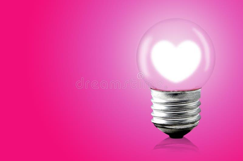 Lampada elettrica interna di incandescenza del cuore immagine stock libera da diritti