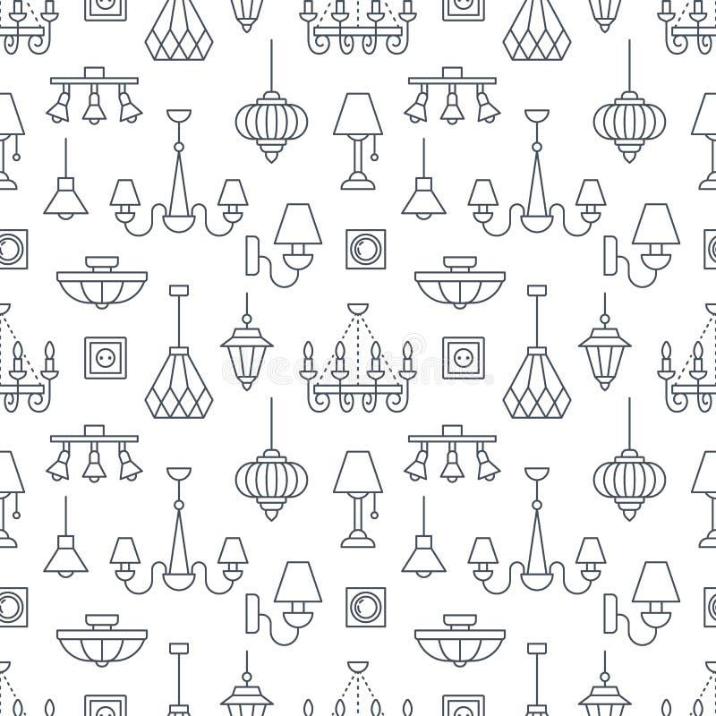 Lampada, lampade modello senza cuciture, illustrazione al tratto Vector le icone di materiale di illuminazione domestico - il can royalty illustrazione gratis