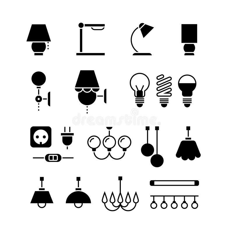 Lampada, lampadine ed icone della siluetta del nero di vettore del materiale elettrico messe royalty illustrazione gratis