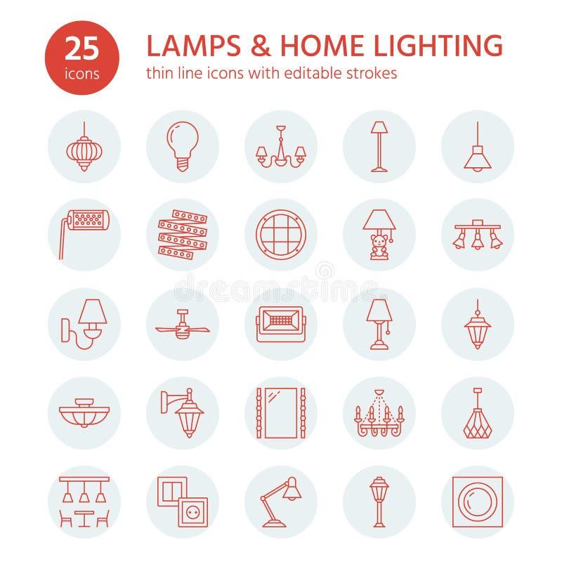 Lampada, linea piana icone delle lampade Materiale di illuminazione domestico ed all'aperto - candeliere, lampada da parete, lamp illustrazione di stock