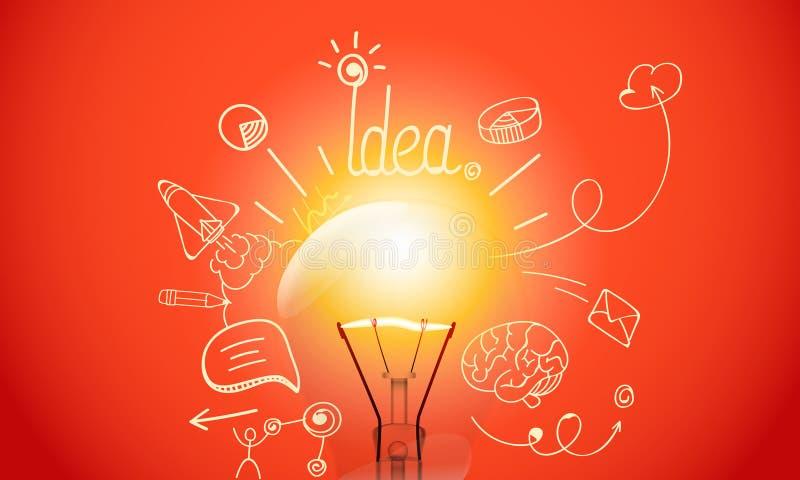 Lampada luminosa con le icone di scarabocchio di media illustrazione vettoriale