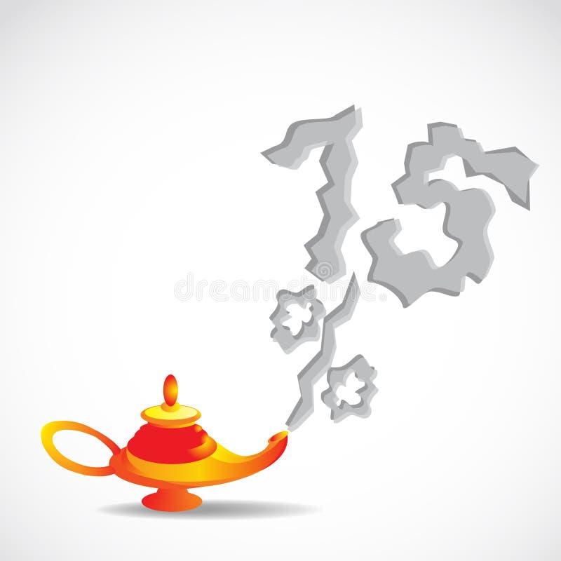 Lampada magica con lo sconto di fumo illustrazione di stock