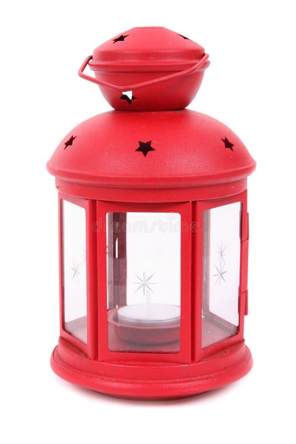Lampada rossa con la candela immagini stock libere da diritti
