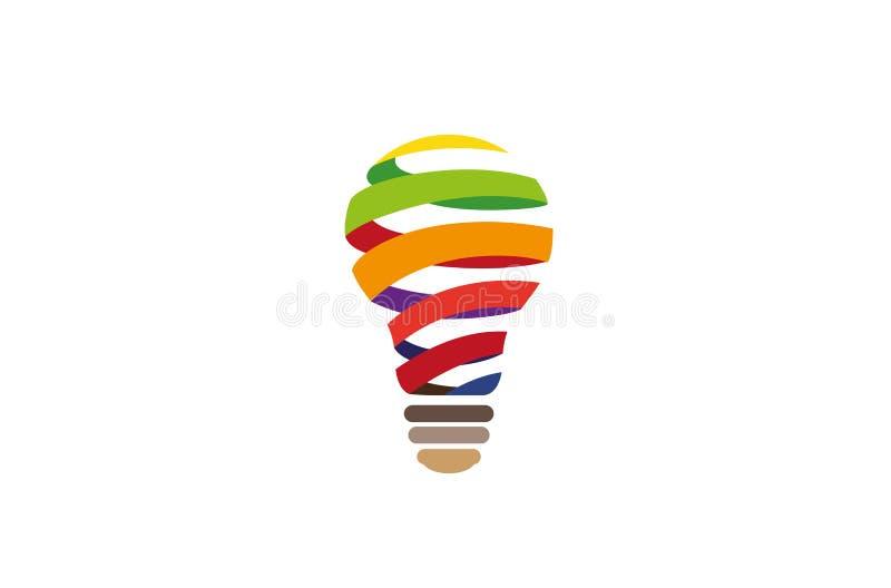 Lampada a spirale astratta creativa Logo Design Vector Symbol Illustration della lampadina illustrazione di stock