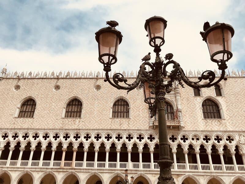 Lampadaire et pigeons à Venise Italie images stock