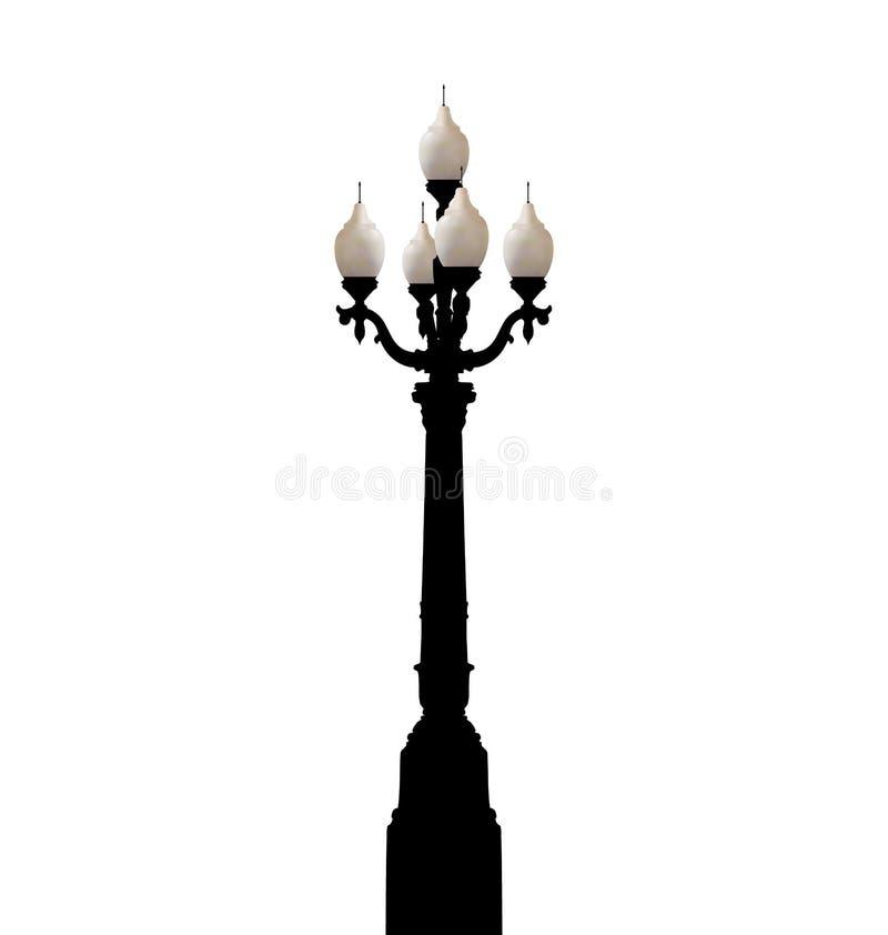 Lampadaire forgé par vintage d'isolement sur le fond blanc illustration de vecteur