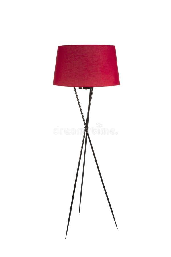 Lampadaire rouge de trépied sur le fond blanc photographie stock
