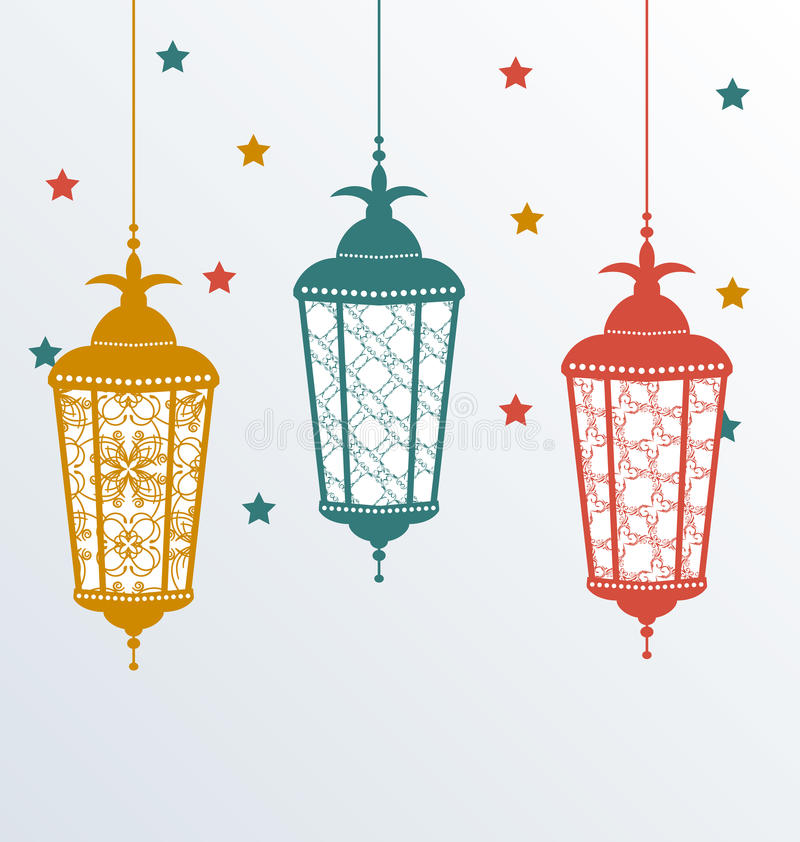 Lampade arabe complesse per Ramadan Kareem illustrazione di stock