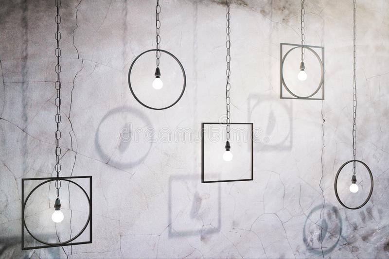 Lampade astratte sul muro di cemento royalty illustrazione gratis