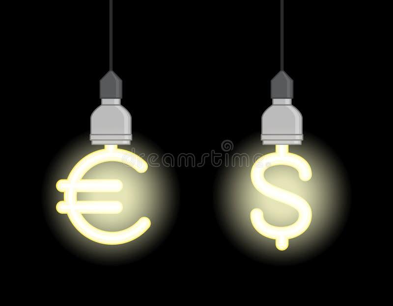 Lampade economizzarici d'energia nella forma di euro segno e simbolo di dollaro illustrazione vettoriale