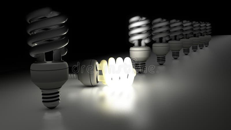Lampade fluorescenti compatte in una riga illustrazione di stock
