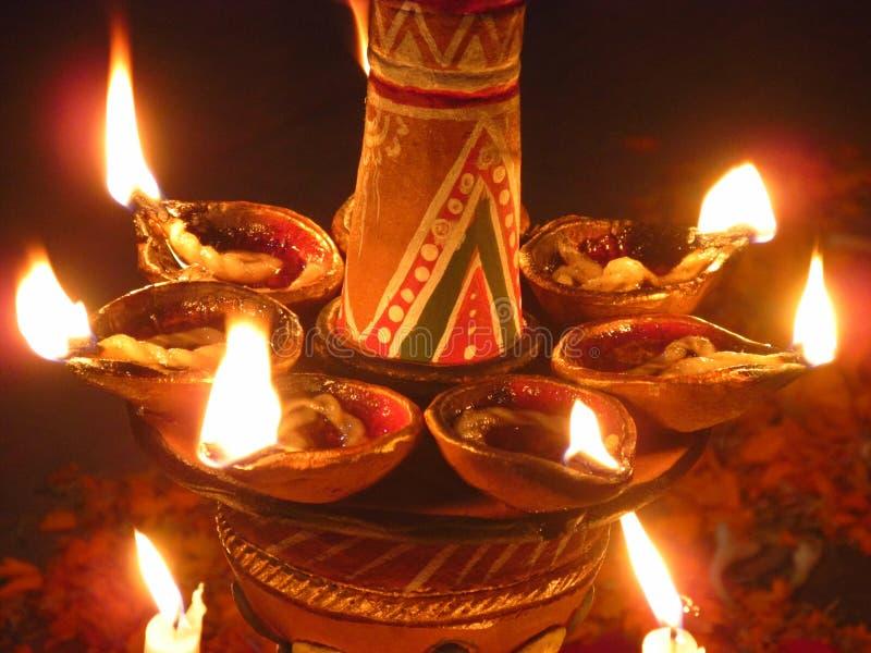 Lampade indiane tradizionali sulla festa di Diwali fotografie stock