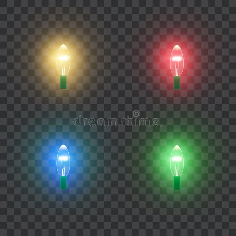 Lampade leggere variopinte di festa di Natale retro designato realistico illustrazione vettoriale