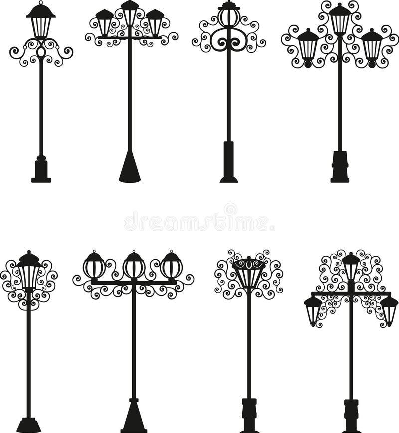 Lampade un vettore di colore nero, illuminazione di via, modelli su un palo della luce, lampade d'annata, illustrazione vettoriale