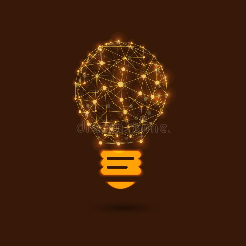 Lampadina brillante di VETTORE, nuova idea, rete, punti d'ardore collegati royalty illustrazione gratis