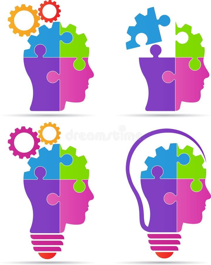 Lampadina capa dell'ingranaggio del cervello di puzzle illustrazione di stock