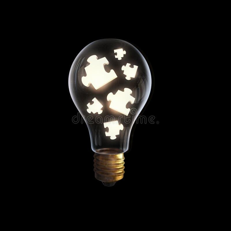 Lampadina con gli elementi di puzzle immagine stock libera da diritti