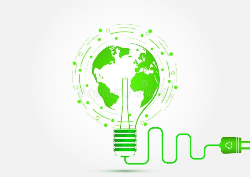 Lampadina con il concetto della terra verde, di ecologia e del risparmio energetico illustrazione di stock