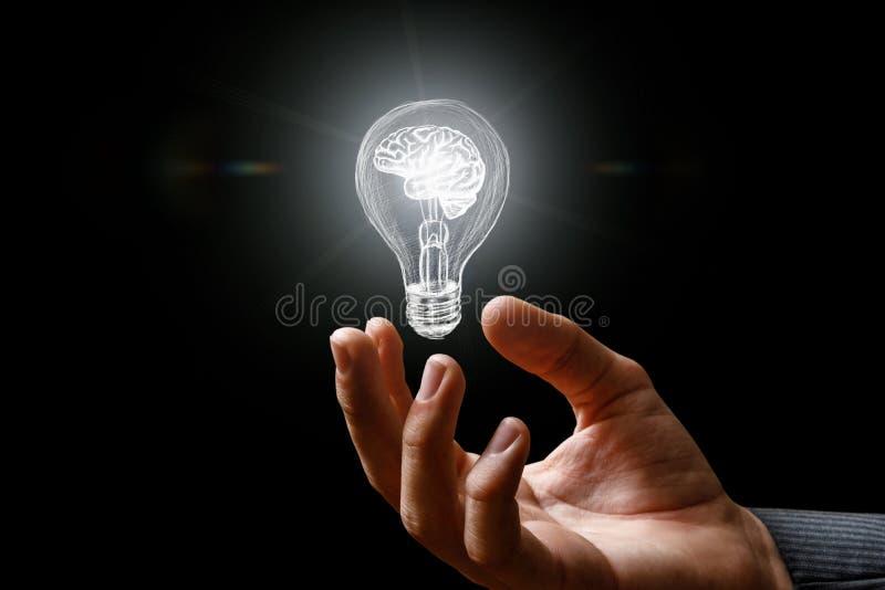 Lampadina con la combustione del cervello nella mano immagine stock