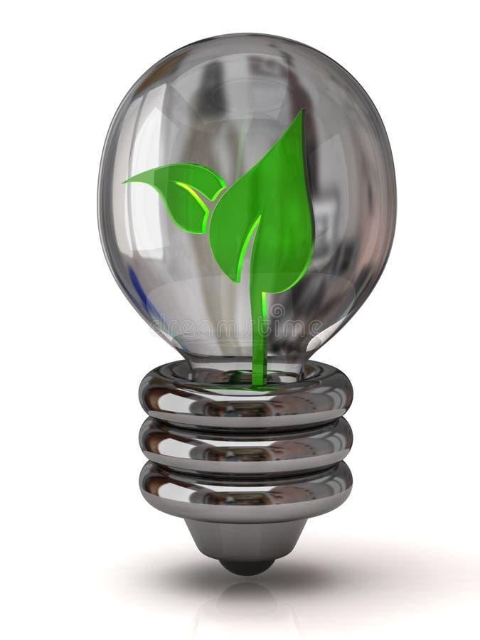 Lampadina con la pianta all'interno illustrazione vettoriale