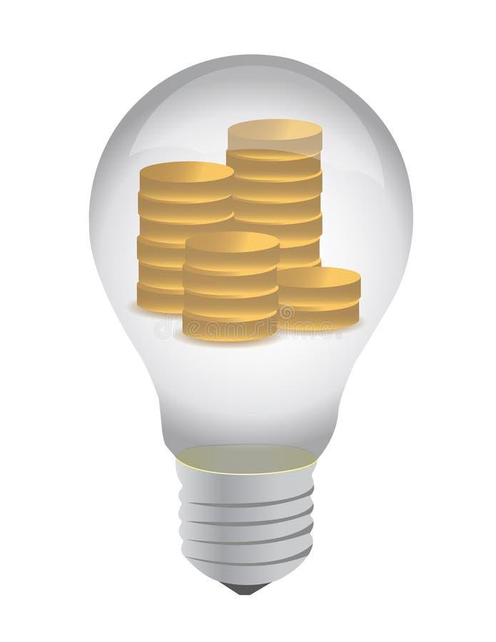 Lampadina con le monete all'interno illustrazione di stock