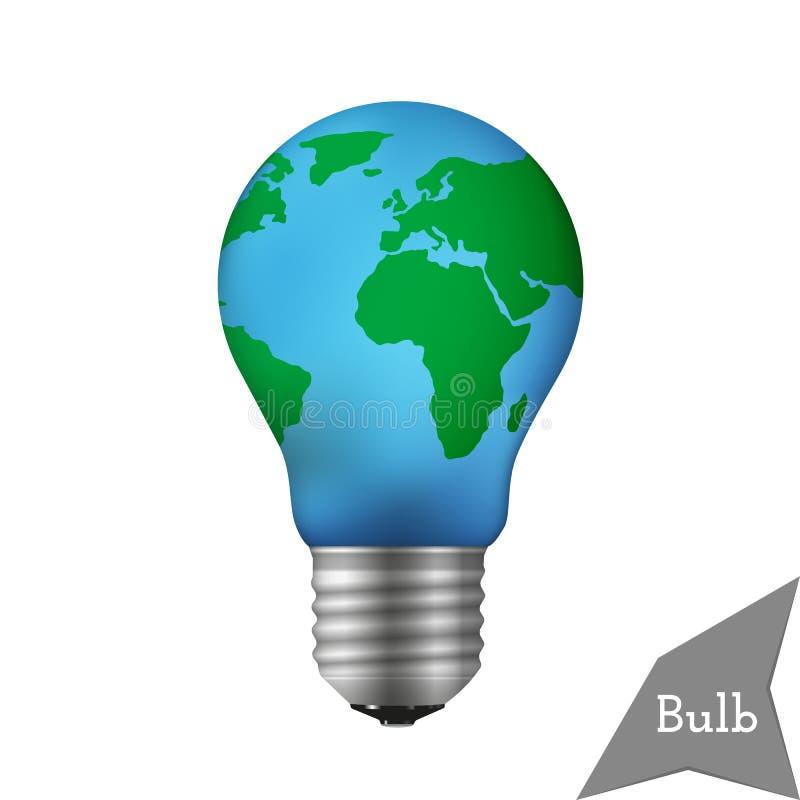 Lampadina con un globo del mondo immagine stock