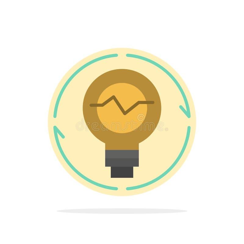Lampadina, concetto, generazione, idea, innovazione, luce, icona piana di colore del fondo del cerchio dell'estratto della lampad illustrazione vettoriale