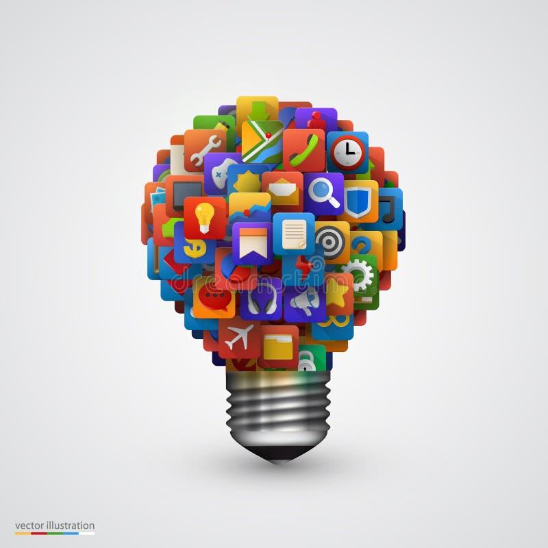 Lampadina creativa moderna con l'icona dell'applicazione illustrazione di stock