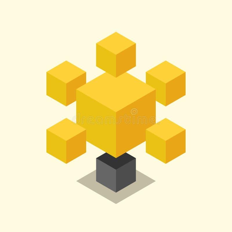 Lampadina cubica isometrica illustrazione di stock