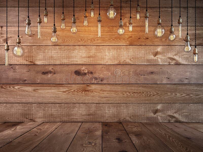 Lampadina d'attaccatura sopra la tavola e un fondo di legno illustrazione di stock