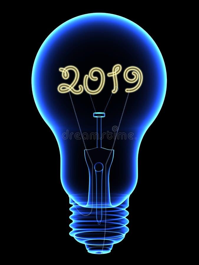 Lampadina dei raggi x con scintillare 2019 cifre dentro isolate sul nero royalty illustrazione gratis
