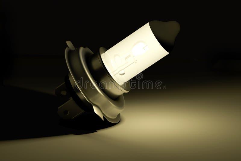 Lampadina dell'automobile dell'alogeno H4 che emette luce nello scuro fotografie stock libere da diritti