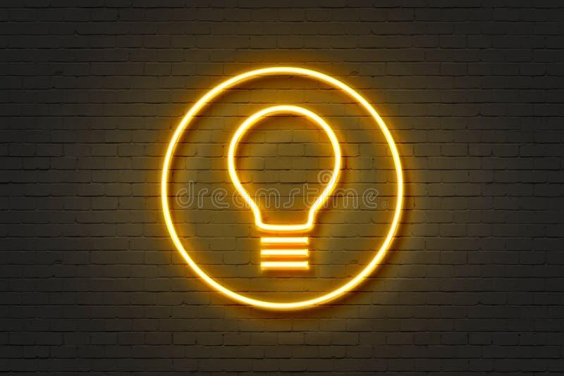 Lampadina dell'icona al neon royalty illustrazione gratis
