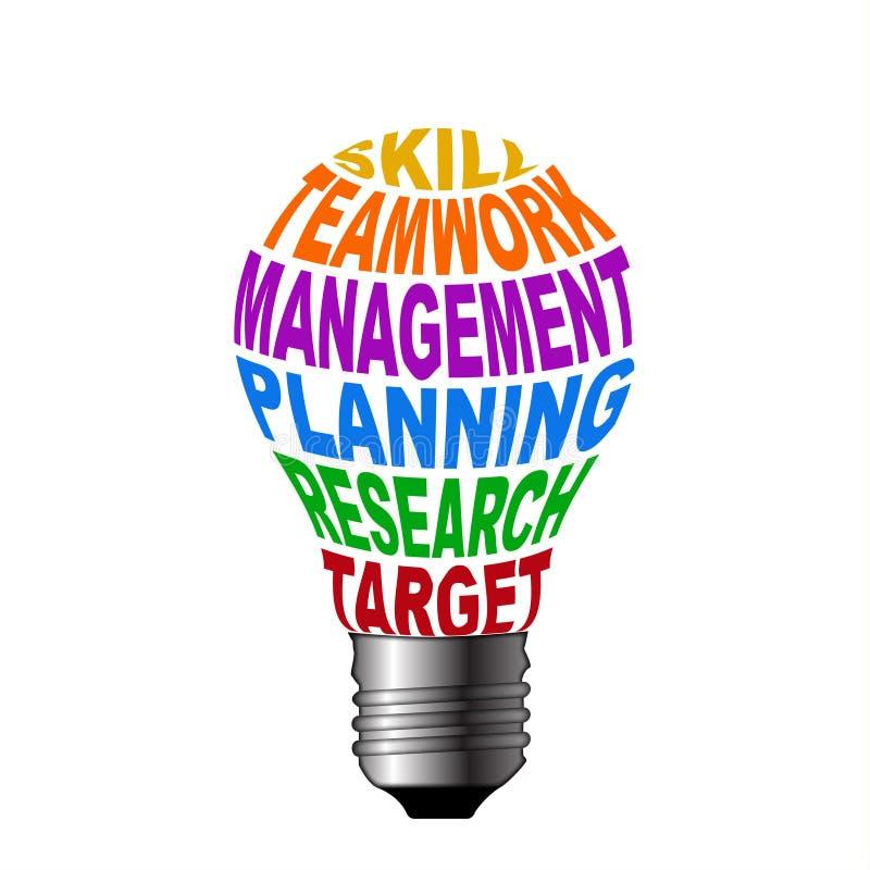 Lampadina dell'obiettivo di ricerca di gestione previsionale di lavoro di squadra di abilità illustrazione di stock