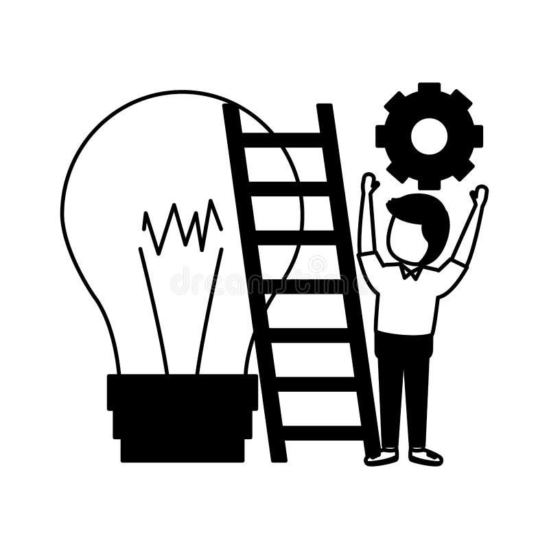 Lampadina delle scale dell'uomo d'affari illustrazione di stock