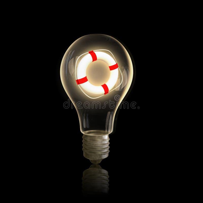 Lampadina di Eco e linee elettriche elettriche fotografia stock libera da diritti