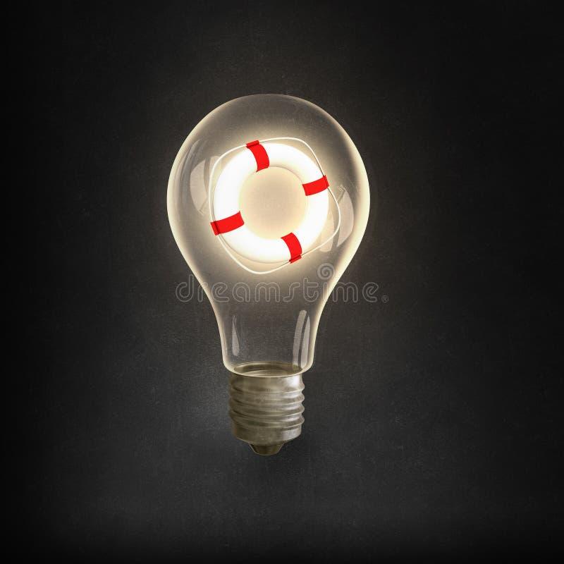 Lampadina di Eco e linee elettriche elettriche immagine stock