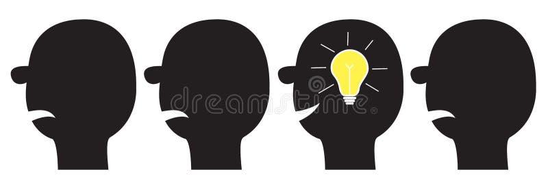 Lampadina di idea nella testa dentro il cervello Effetto brillante Insieme dell'icona del viso umano Siluetta nera Processo di pe illustrazione di stock