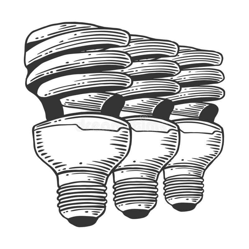 Lampadina di Mercury Concetto di vettore nello stile di schizzo e di scarabocchio Illustrazione disegnata a mano per la stampa su illustrazione vettoriale