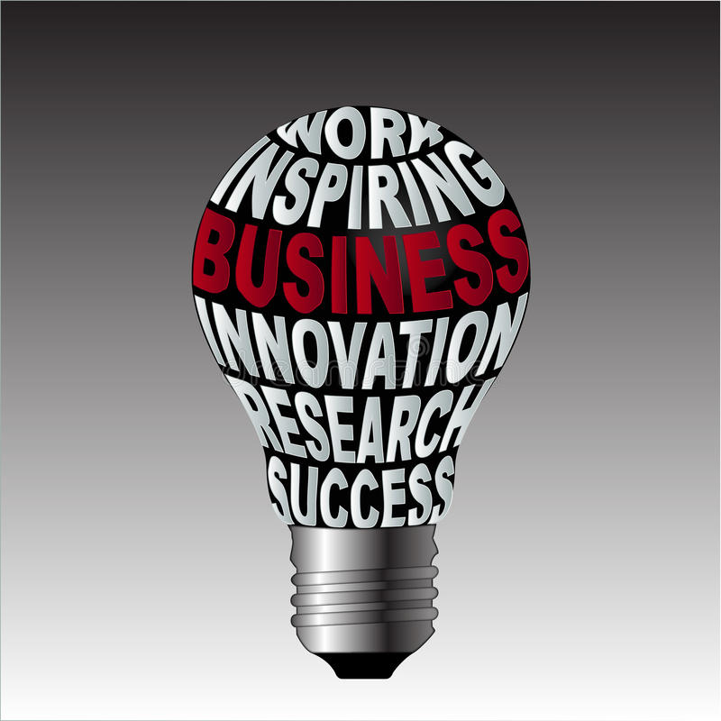 Lampadina di successo di ricerca dell'innovazione di affari di ispirazione del lavoro illustrazione di stock