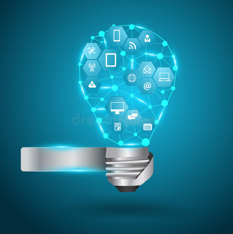 Lampadina di vettore con la rete di affari di tecnologia