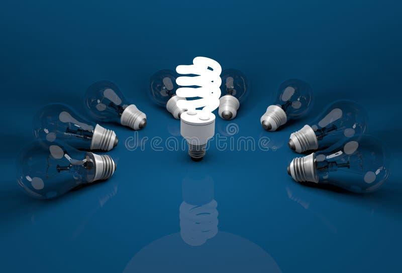 Lampadina economizzatrice d'energia d'ardore fra le lampadine incandescenti morte o di menzogne immagine stock libera da diritti