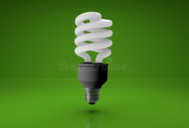 lampadina economizzatrice d'energia 3d su fondo verde fotografia stock libera da diritti