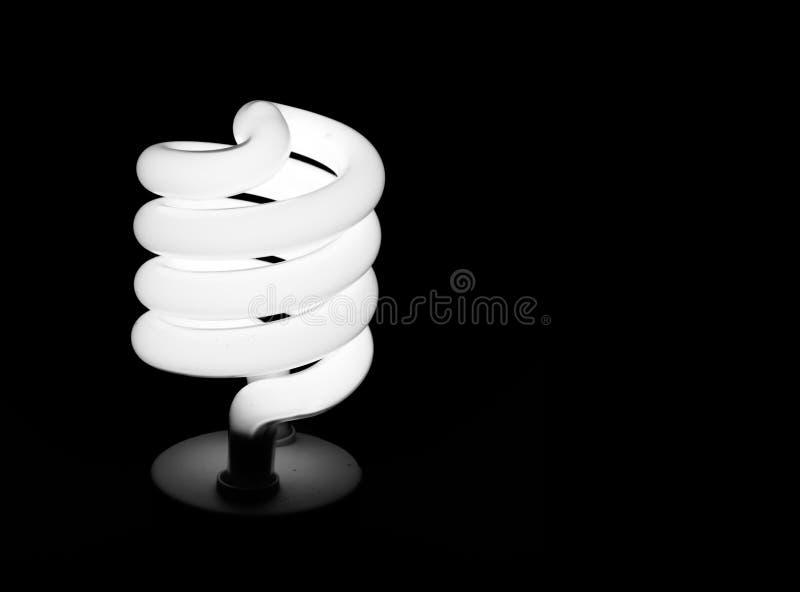 Lampadina economizzatrice d'energia, lampada, isolata sopra il nero fotografia stock