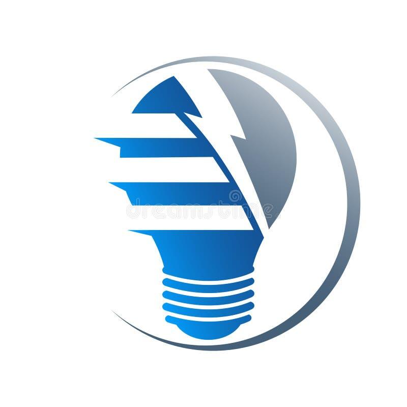 Lampadina elettrica con il folgore Solutio innovatore del fulmine royalty illustrazione gratis